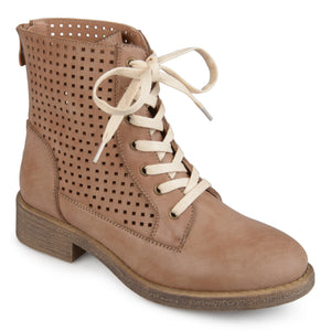 Womens Faux Leather Laser-cut Lace-up Boots
