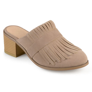 Womens Stacked Heel Faux Suede Fringe Mules