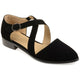 Womens Stacked Wood Heel Crossover Ankle Strap D'orsay Dress Flats