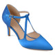 Womens Faux Leather Satin Glitter Pointed Toe V-strap Heels