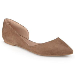 Womens Ankle Strap Faux Suede Covered D'Orsay Flats