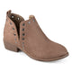 Womens Stud Faux Suede Side Slit Booties