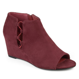 Womens Faux Suede Open-toe Cut-out Wedges
