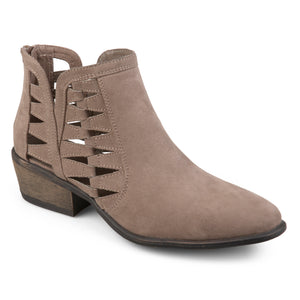 Womens Side Slit Cut-out Faux Suede Booties