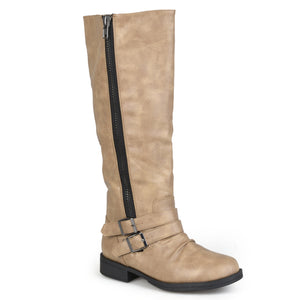 Womens Regular and Wide-Calf Knee-High Side-Zipper Buckle Riding Boot