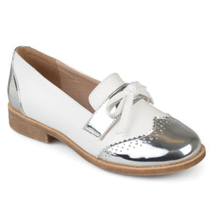 Womens Faux Leather Bow Accent Wingtip Loafers