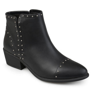 Womens Ginny Faux Leather Stacked Heel Studded Ankle Boots