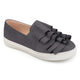 Womens Faux Suede Slip-on Ruffle Sneakers
