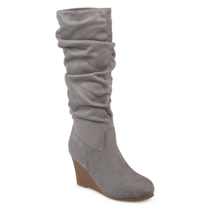 Womens Slouchy Faux Suede Mid-calf Wedge Boots
