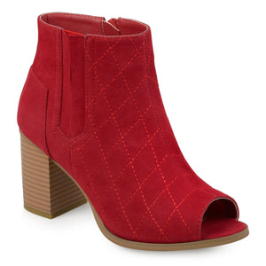 Womens Stacked Heel Open-toe Heeled Quilted Stitch Booties