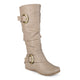 Womens Buckle Knee-High Slouch Boot In Regular and Wide-Calf Sizes