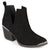 Womens Faux Suede Stacked Wood Heel Metal Detail Side Slit Booties