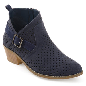 Womens Joss Perforated Faux Suede Stacked Heel Asymmetrical Booties