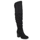 Womens Extra Wide Calf Ruched Stacked Heel Faux Suede Over-the-knee Boots