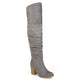 Womens Ruched Stacked Heel Faux Suede Over-the-knee Boots