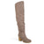 Womens Wide Calf Ruched Stacked Heel Faux Suede Over-the-knee Boots