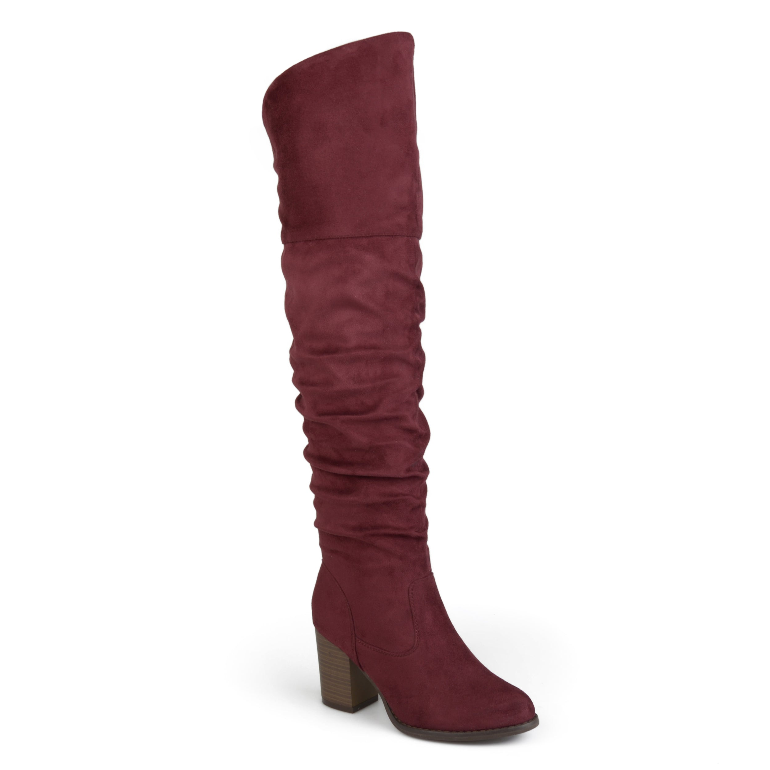 e47e3448bbd Womens Extra Wide Calf Ruched Stacked Heel Faux Suede Over-the-knee Boots