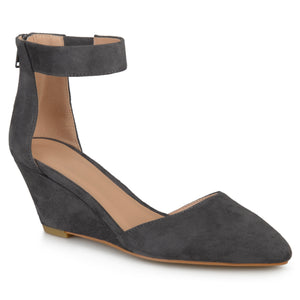 Womens Pointed Toe Faux Suede Classic Ankle Strap Wedges