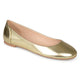 Womens Comfort-sole Faux Leather Round Toe Flats