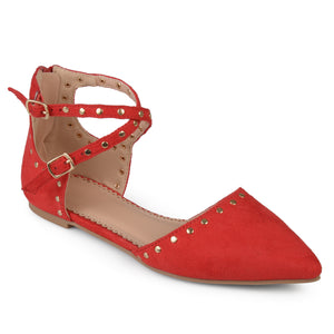 Womens Double Ankle Strap Faux Suede Studded Flats