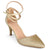 Womens Glitter D'orsay Pointed Toe Wrap Strap Pumps