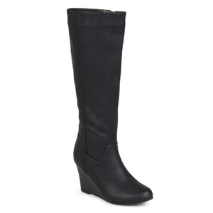 Womens Wide Calf Round Toe Faux Leather Mid-calf Wedge Boots