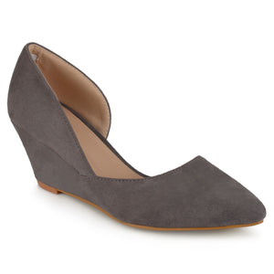 Womens Pointed Toe Faux Suede Classic D'orsay Wedges