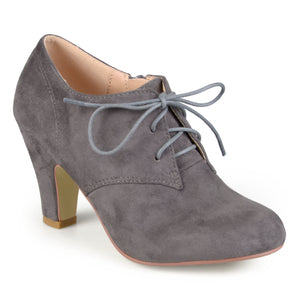Womens Vintage Round Toe High Heel Lace-up Faux Suede Booties