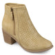 Womens Malak Faux Leather Faux Wood Stacked Heel Laser-cut Comfort-sole Booties