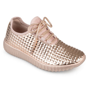 Womens Faux Leather Lace-up Embossed Lightweight Sneakers