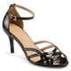 Womens Merika Faux Leather Ankle Strap Metallic Heels