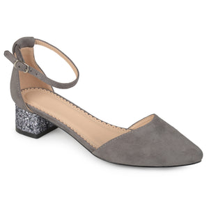 Womens Faux Suede Ankle Strap Pointed Toe Glitter Heels