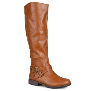 Brinley Co. Womens Regular and Wide-Calf Buckle Knee-High Ankle-Strap Riding Boot