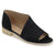 Womens Nero Faux Leather D'orsay Asymmetrical Open-toe Flats