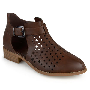 Womens Laser Cut Faux Leather Booties