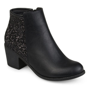 Womens Faux Leather Wood Stacked Heel Glitter Booties