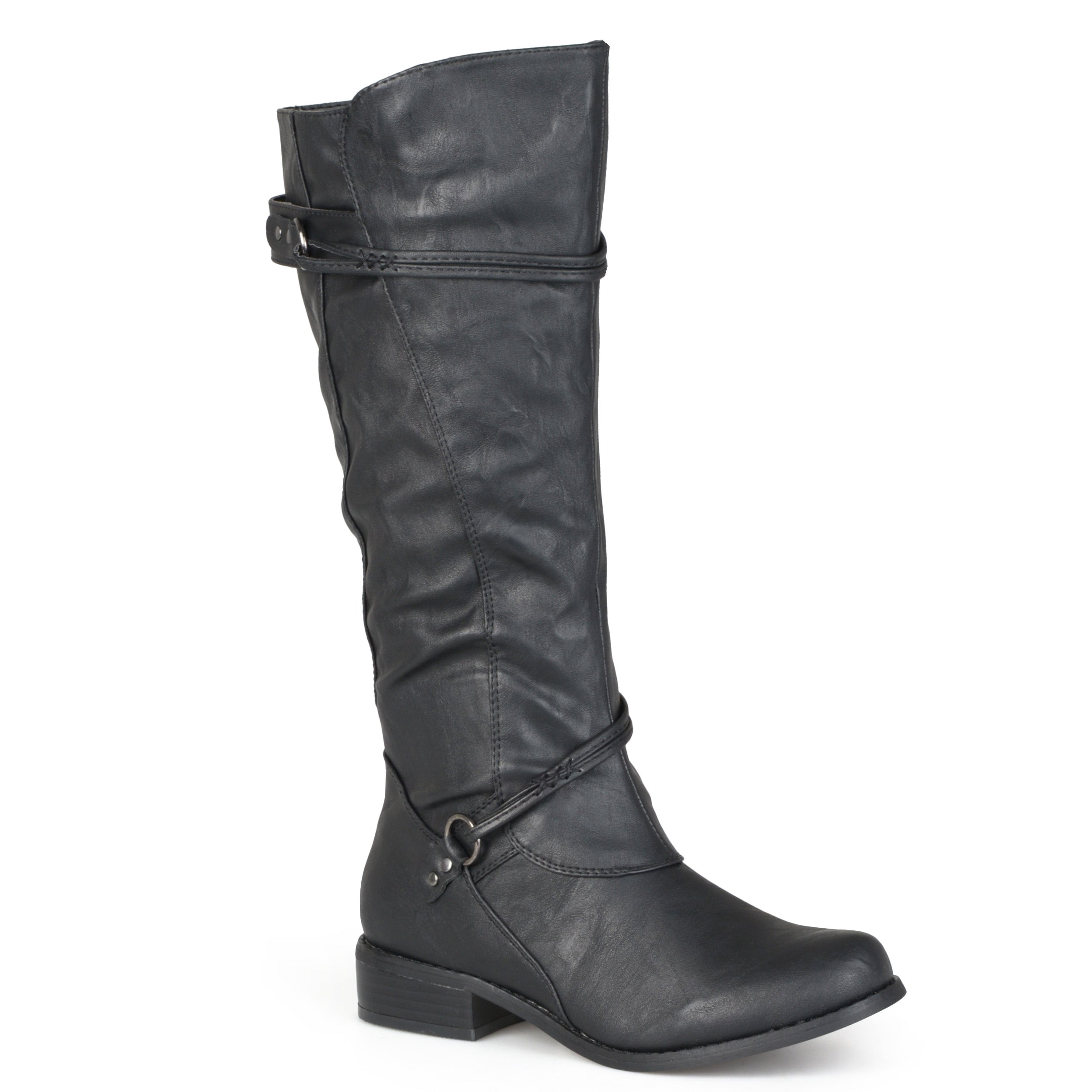 Womens Extra Wide Calf Knee High Faux Leather Riding Boots 5876a8adbf