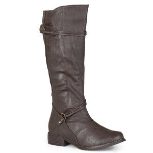 Womens Extra Wide Calf Knee High Faux Leather Riding Boots
