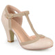 Womens Wide Width Cut Out Round Toe T-strap Two-tone Matte Mary Jane Pumps