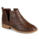 Womens Stacked Heel Laser Cut Faux Leather Booties