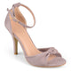 Womens Faux Suede Knot Ankle Strap High Heels