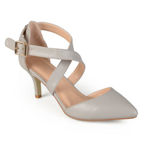 Womens Matte Pointed Toe Ankle Strap D'Orsay Pumps