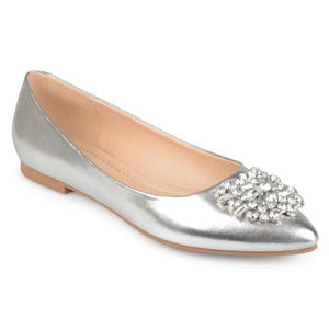 Womens Faux Leather Pointed Toe Jewel Flats