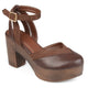 Womens Rheya Faux Leather Faux Suede Ankle Wrap Platform Heels