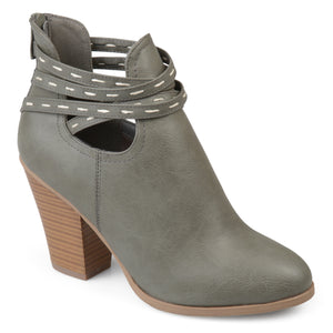Womens Faux Leather Strappy Chunky Stacked Heel Booties