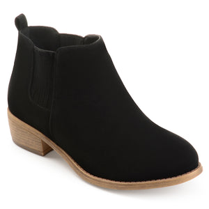 Womens Stacked Heel Faux Suede Ankle Boots