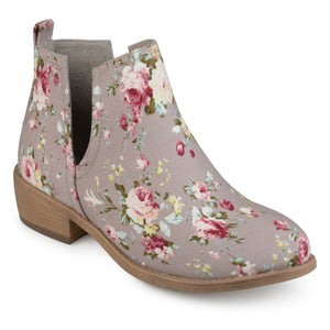Womens Floral Fabric Round Toe Stacked Heel Side Slit Booties