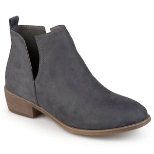 Womens Faux Suede Cut-out Round Toe Boots