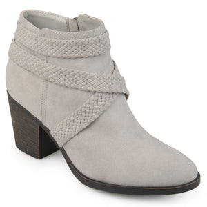Womens Sadie Faux Suede Almond-toe Crisscross Strap Booties