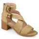 Womens Stacked Wood Heel Faux Leather Double Ankle Strap Sandals